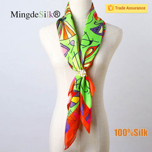 Top quality printed silk twill scarf for women 18mm