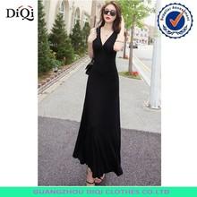 Korean fashion summer deep v-neck short sleeve ladies sexy long dress