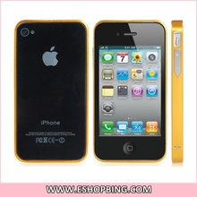 Metal Bumper with Button for iphone 4 4S Gold