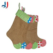 Hot sale super top flashing tube linen christmas stocking with flowers designs