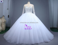 OEM Service Real Pictures MC-32 Ball Gown Beaded All Upper Body Diamont Lace Applique Bottom Long Sleeve Wedding Dresses
