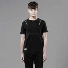Wholesale 65%cotton 35%polyester short sleeve black men's t shirt with zipper ST-2