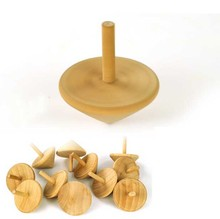 Vintage Unpainted Wooden Spinning Top, Wood Child's Toy Play Spin Top Handmade