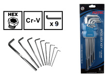 9 PCS Long Handle Adjustable Allen Wrench Set