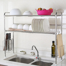 Home kitchen storage metal drain stainless steel dish drying rack