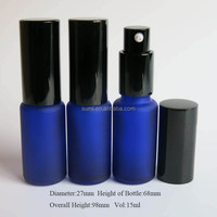 Free Shipping 15ml Blue Glass perfume spray Bottle,15cc Frost Blue Glass Fragrance Bottle