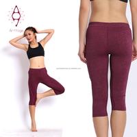 Red plain capris fitness leggings sport wear woman tights