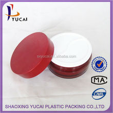 cosmetics wholesale hight quality red metslized right angle shape plastic container and 100ml round shape acrylic eye mask jar
