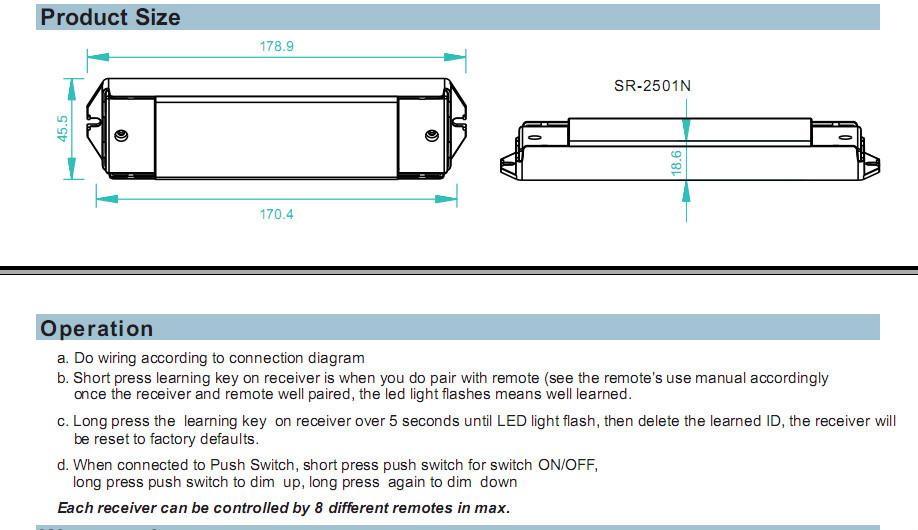 New 12v  24v  36v Receiver Sr-2501nea 4x8a 4 96-288w