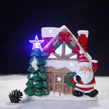 Festival decorative christmas snow house ceramic hanging christmas ornaments