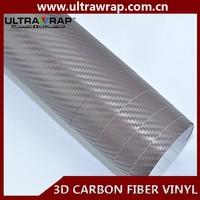 Ultrawrap 1.52x30 meter bubble free 3D brown carbon fiber vinyl raw material