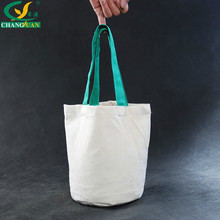Green Handle Women Bags Canvas Cotton Tote Shopping Bag