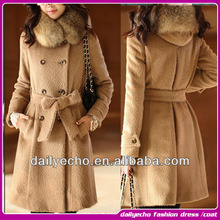 caliente venta de moda de lujo de la mujer de lana de doble botonadura de piel de zorro abrigos