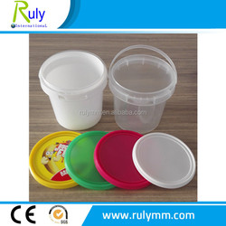White/clear round 1Liter injection plastic bucket for food packing