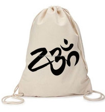 eco friendly cotton canvas drawstring bag with custom logo, drawstring cotton backpack, recycle 100% cotton drawstring backpack