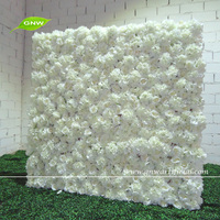 GNW 5ft white silk rose and hydrangea wedding flower backdrop for wedding stage decoration