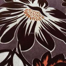 100% Polyester linen like printed flocked sofa fabric