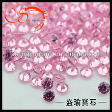 machine cut aaaa round shape pink cubic zirconia gemstone for decoration