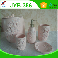 New design fashion pink flower polyresin bathroom accessories set