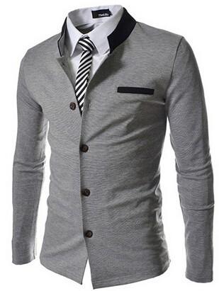 HTB1IxjfFVXXXXcEXVXXq6xXFXXXV - Fashion Brand Men's spell color Collar Slim Fit Blazer Suits (without Shirt and Tie) (Asia Size)