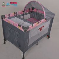 foldable baby double cot crib bed with diaper changer ,large playpen for babies with swing bassinet, baby play yard with wheels