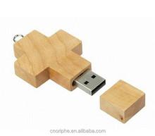 good quality cross shape wooden usb flash drive factory
