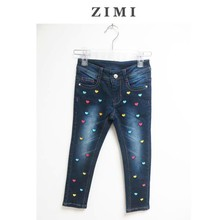 New style Europe Printed &embroidered Childern jeans ,latest jeans tops girls,girl jeans,jeans for girls