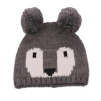 children's funny knit beanie hats with pom pom