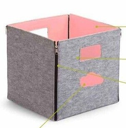 Hot Selling Gray Open felt foldable storage box container for home using with handle