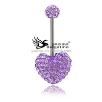 Light Purple Gemstone Piercing Jewelry For Women,Bell Button Rings Wholesale New Design