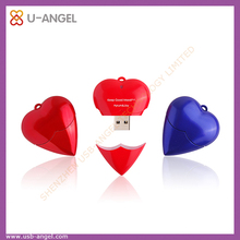Red heart shape usb flash drive 8gb usb pen drive plastic