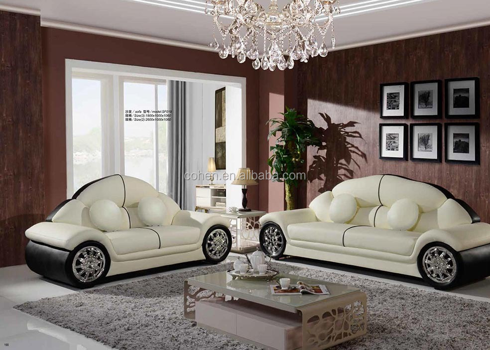 Comfortable living room white leather car sofa on sale for Comfortable living room sets