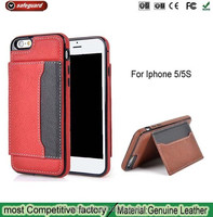 Factory outlets high quality PU stand Cover for Apple iPhone5 S Leather Card Wallet Protective Case