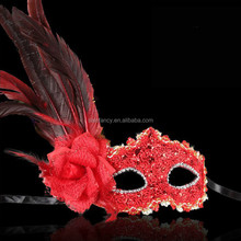 Red sex flower feather party city masquerade masks wholesale QMAK-1551