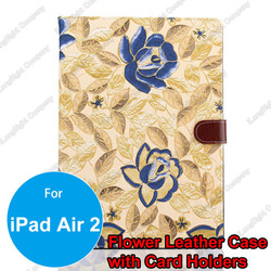Luxury Vintage Floral Rose Flower Skin Denim Leather Wallet Credit Card Slot Stand for iPad Air 2