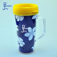 insulated plastic double wall tumbler with paper insert/450ml double wall cup