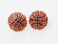 Sport Jewelry Crystal Rhinestone Basketball Earrings Fashion Stud Earrings