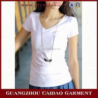 Europe trendy cheap price women cheap stock t shirt white