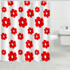 Bathroom curtains with color bright fabric flower printed plastic hangers Shower liner