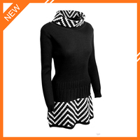 2015 lastest design fashion 100% cashmere turtleneck pullover dresses for women