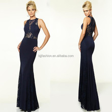 Navy Bule See Through Sexy Floor Length Lace And Jersey Dresses For Women