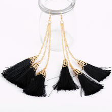 Moonsoul 2016 trend Tassels Jewelry Eardrop with metal chain party use jewelry wholesale china