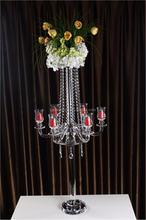 Optical Glass 5 Arms Tall Crystal Candleholders For Home Decoration