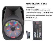 led nice battery speaker with usb,sd,fm,eq subwoofer,built-in amplifier(F-19D)