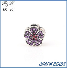 Cheap and fashion flower crytal glass bead treasure Charms fit european bracelet