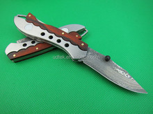 OEM Pure hand-made damascus knife treasure folding knives 58HRC UDTEK01944