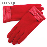 2015 fashion decorated with buttons warm red wool gloves for ladies