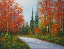 red leaves oil painting on canvas 100% hand painted antique background birch oil painting