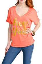OEM 2015 New Fashion Hey Y'all Short Sleeve V-Neck T Shirt in Coral