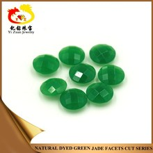 Factory cut double checkerboard round green natural jade stone beads for jewelry